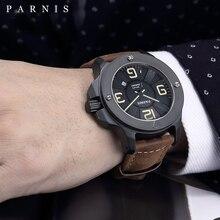 Parnis 47mm askeri mekanik saatler Mens izle üst marka lüks otomatik izle safir kristal hakiki deri bant 2019