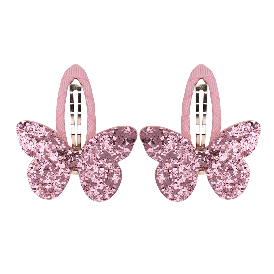 Pair Butterfly sequin hair clips