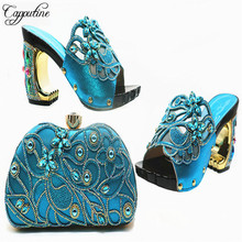 Capputine Hot Sale African Rhinestones Slipper Shoes And Bag Set Italian Fashion Shoes With Matching Bags And Party Shoes cheap Slingbacks Square heel Super High (8cm-up) Fits true to size take your normal size CRYSTAL Summer Peep Toe Rubber Pumps