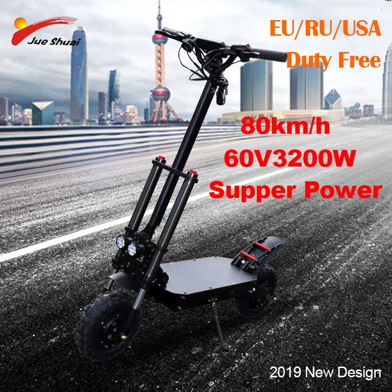 """60v 3200w long distance 105km lithium battery electric scooter 11"""" powerful adult electric skateboard patinete electrico adulto"""