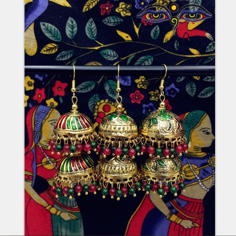 Magnifique Inde Bollywood D'or Peint Glaçure Grandes Boucles D'oreille Oreille-Crochet Double-Pont Cage De Scène De Danse Du Ventre De Yoga Inde bijoux