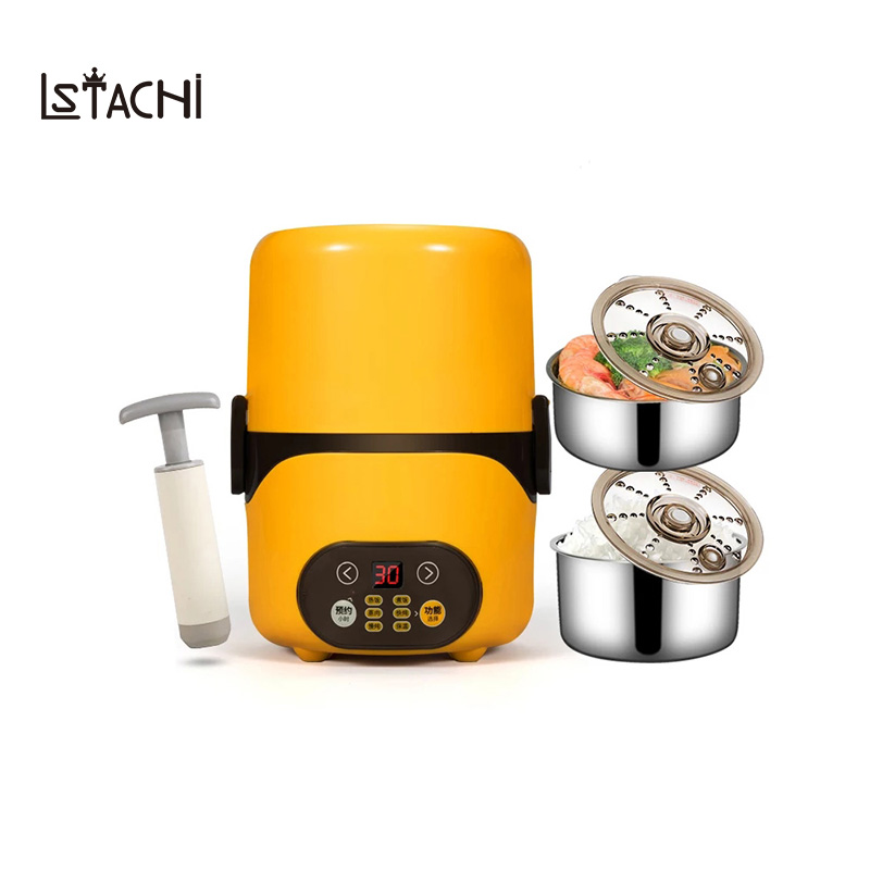 LSTACHi Multifunction Electric Lunch Box 2 Layers Food Warmer Mini Rice Cooker Timer Lunchbox Intelligent Rice Meal Steamer цена и фото