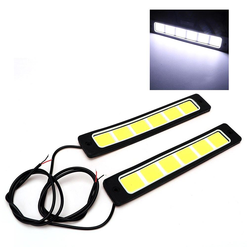 1 Pair LED Car DRL Day Time Lights Waterproof Square Daytime Running Light COB Flexible Bendable Fog Lamp Super Bright newest screen flexible bendable ip20 apa102 rgb led matrix 256leds pcs