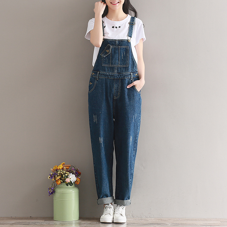 Summer Style New Women Ripped Denim Jeans Casual Pantalon Femme Stretch Romper Simple Overalls Straight Loose Dungarees Trousers