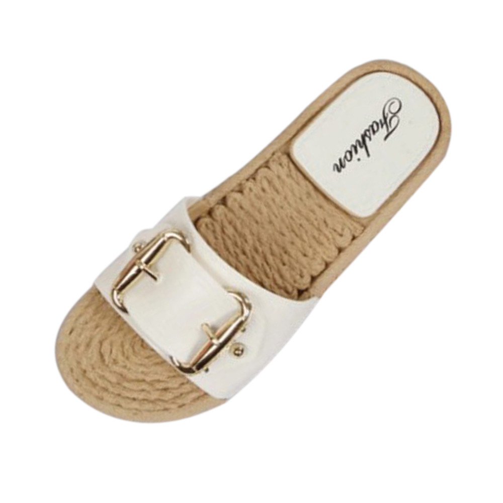 2018 New Summer Women Flip Flop Non-Slip Designer Flat Sandals Home Slippers Fashion Slides Casual Straw Shoes metal diamond flip flop flat toe slippers sandals summer 2018 new female fashion flipflops lazy people slides flat with slippers