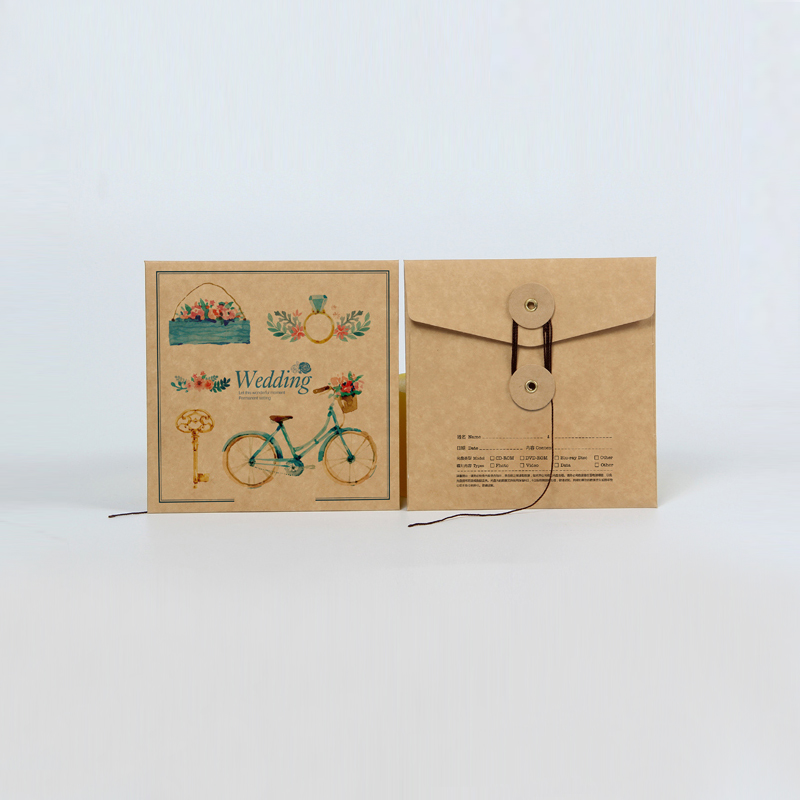 Customized kraft Paper Packaging Wrapping Envelope Box Sleeve Case for CD DVD Media Jewelry Makeup Logo Stamp Brown White