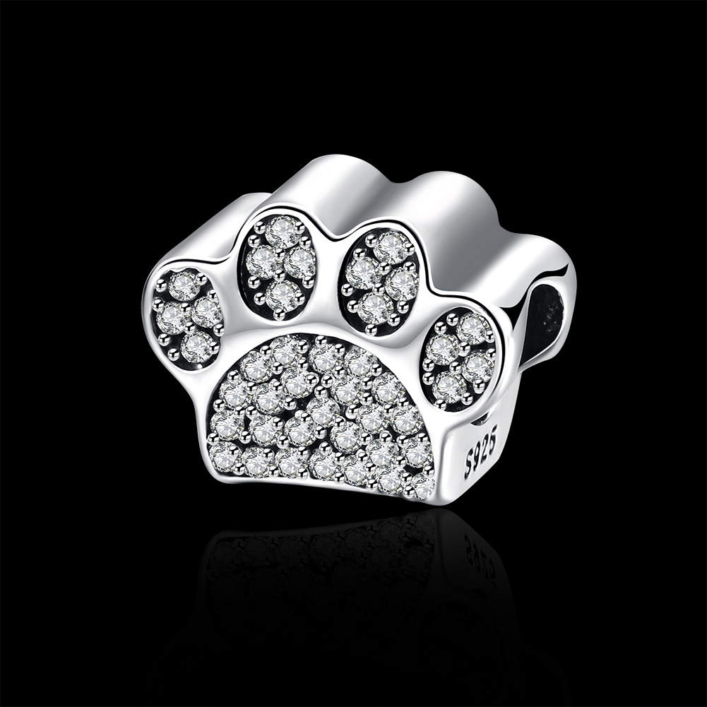 GOMAYA 925 Silver Charm Diamond Series Locable Animal Footprint Accessories For Women Sister Best Friends Bracelets Jewelry in Beads from Jewelry Accessories