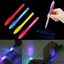 1PC Creative Stationery LED Highlighter Pen Magic 2 In 1 UV Black Light Combo School Office Drawing Invisible Ink Random
