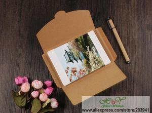 Image 3 - 50pcs/lot 3 Colors Vintage Blank Kraft Paper DIY Multifunction Envelope postcard box Package paper wholesale