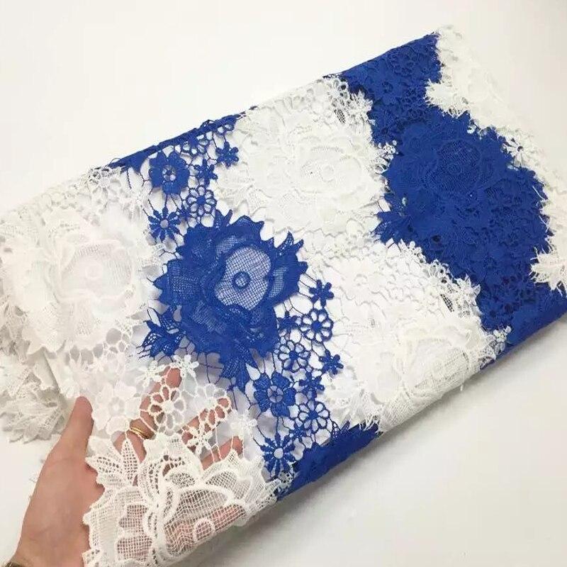 5 Yards Hurtownie tanie sukienka Poliester Materiał Biały Przewód Gipiury koronki tkaniny Afryki Koronki Chemiczne Tkaniny W2-402