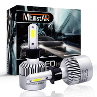 Meilistar S2 H3 Car LED Headlight COB Headlamp Kit Dipped Single Beam DRL 72w 8000LM Set