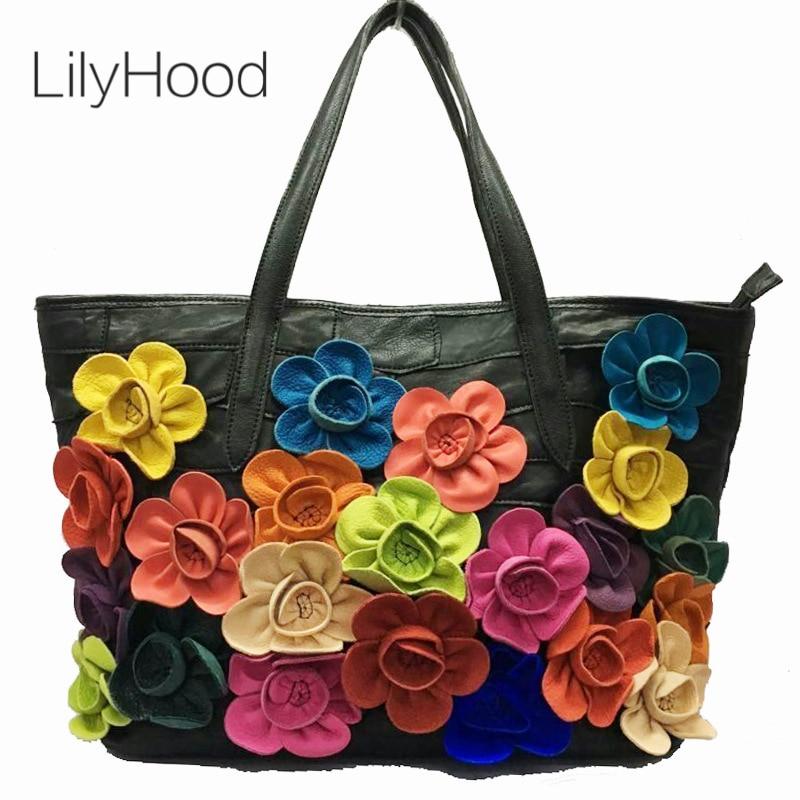 Lady Sheep Skin Tote Bag Fashion 3D Floral Daily Shoulder Bag Casual Designer Bag Bohemian Boho