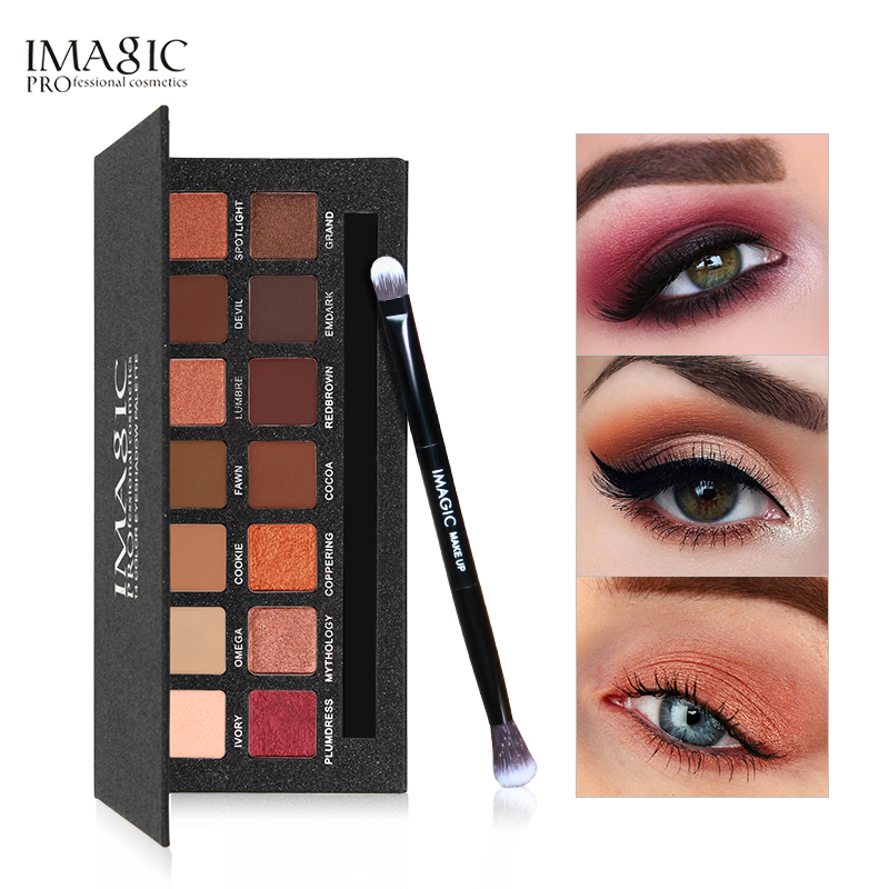 IMAGIC 14 Olhos Cores Da Paleta Da Sombra Shimmer Matte Eyeshadow Makeup Luz Tons Da Paleta Da Sombra de Olho Com Escova