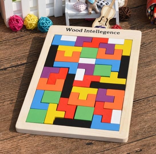 Gros 100 pièces/Carton Tetris Puzzle en bois jouet famille jeu construction géométrique Tangram enfant bébé jouets cadeau d'anniversaire - 2