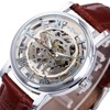 WINNER NEW Men Women Mechanical Watches Leather Strap Skeleton Semi Automatic Wrist Watches Top Luxury Lover