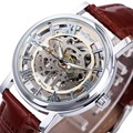 WINNER NEW Men Women Mechanical Watches Leather Strap Skeleton Semi-automatic Wrist Watches Top Luxury Lover's Clock +GIFT BOX