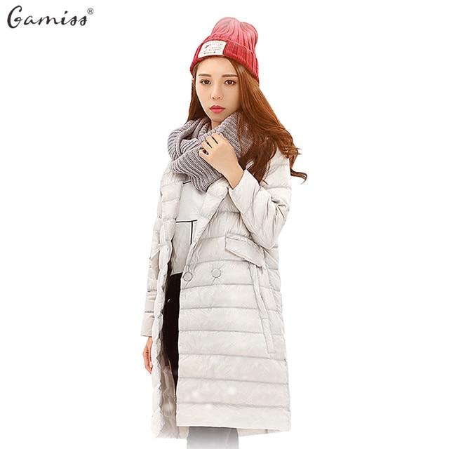 Gamiss/зима тонкий утка Подпушки куртка женщин длинное пальто Парки утолщение сложите воротник женские теплые с карманом верхняя одежда 6 цветов