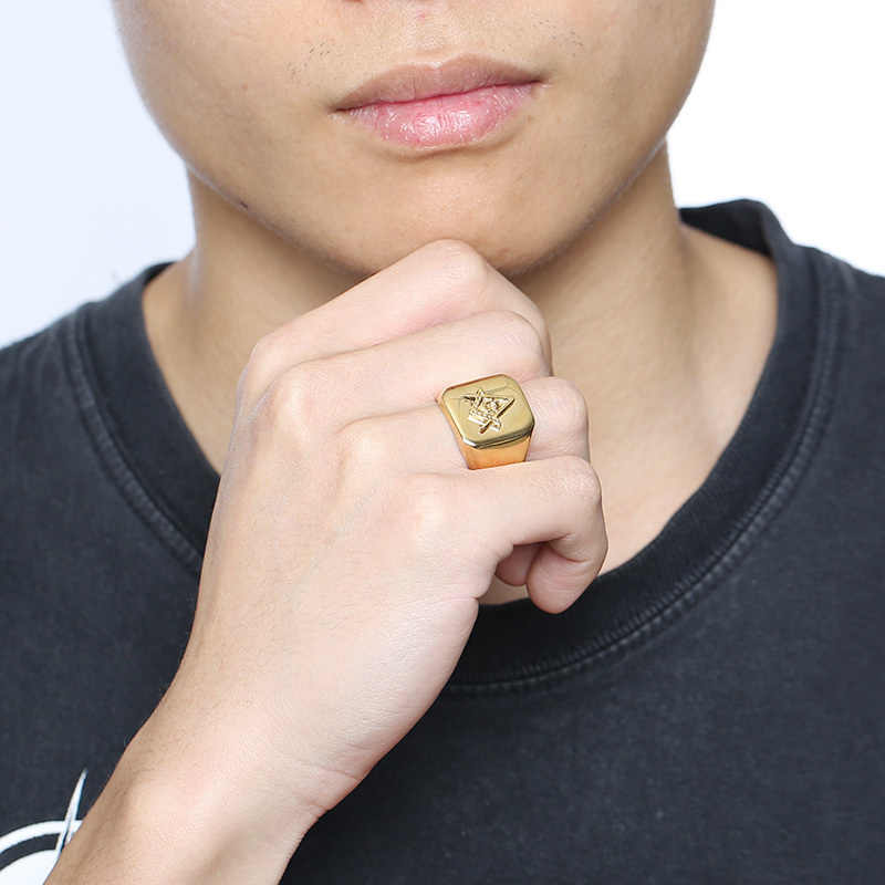 Vnox, золотое, мужское масонское кольцо с компасом, квадратное, бесплатная доставка, полированное, нержавеющая сталь, большое мужское кольцо, вечерние, крутые ювелирные изделия
