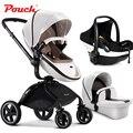 3 в 1 Pouch детские коляски в том числе автокресло детская коляска и детская спальная корзина кожа белая и коричневая ткань красный кофе