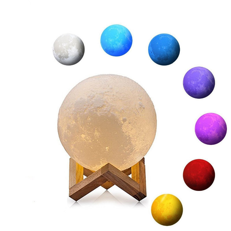 GZMJ 3D Print Moon Lamp Rechargeable Touch Switch Bedroom Bookcase Night Light Home Decor Creative Gift USB Led Lights For Home