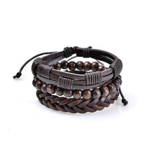 H:HYDE Punk Genuine Wrap Leather Bracelets Men Women Onyx Lava Hematite Jewelry Accessories Wholesale DIY Stone Beads Bangles(China)