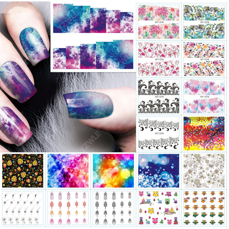 1pcs Nail Sticker Water Transfer Decals Galaxy Starry Sky Watermark Slider Gel Nail Art Decoration Manicure f lashes 50pcs set starry sky star nail sticker art nail gel water transfer stickers decals tip decoration diy nails accessories