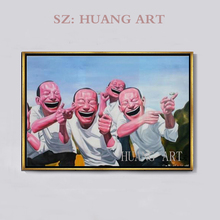 Chinese hall famous painter yue minjun on the canvas hand-painted oil painting mouth creative very gift hotel