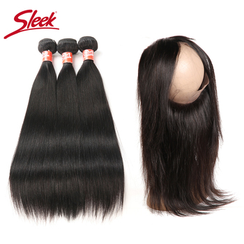 Sleek Straight Human Hair Bundles With 360 Lace Frontal Closure Peruvian Hair Weave Bundles With Closure Hair Extension Non- Rem image