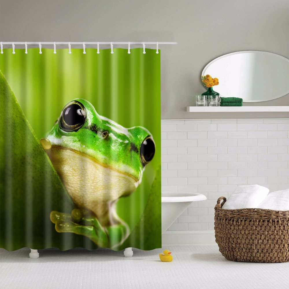 Frog Printed Polyester Waterproof Shower Curtain (include 12 Pcs Hooks)  180*180cm(