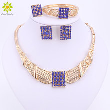 New Fashion Dubai Gold Color Jewelry Sets Blue Crystal Nigerian Wedding African Beads Jewelry Sets Dubai Design For Costume