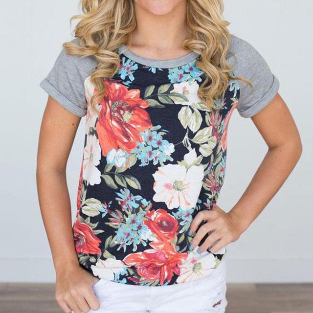 8b0a3db8eaa Shiping-free Women Floral Printed Raglan Sleeve Baseball T-Shirt Plus Size  S-3XL Kawaii Harajuku Blusas Cute Female Tops Tees