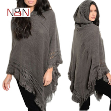 Casual Winter Sweater Hooded Poncho And Cape Knitted Sweaters Tassel Pullover Solid Sweater Women Poncho And Capes Warm Coat
