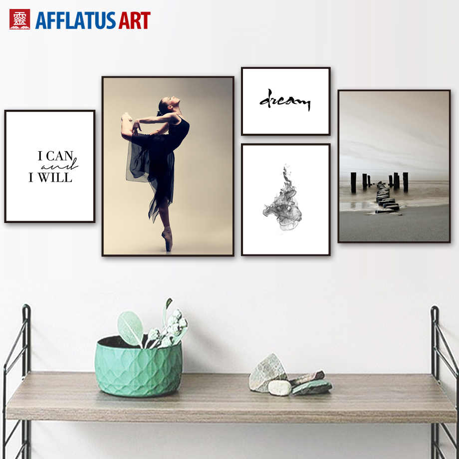 Dancing Girls Motivational Quotes Nordic Posters And Prints Wall Art Canvas Painting Wall Pictures For Living Room Home Decor