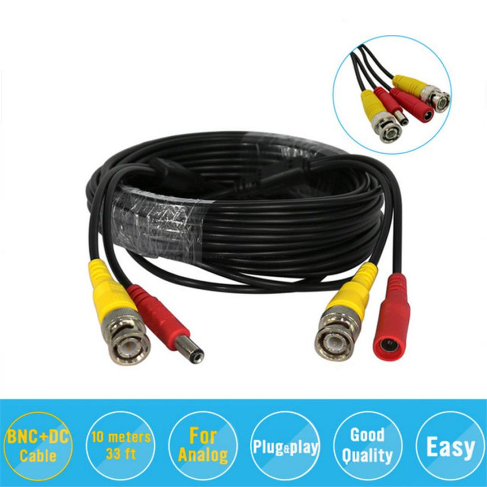 BNC Video Power Siamese Cable BNC&DC-C-18 12V Cable 32ft 10m for Analog AHD CVI CCTV Surveillance Camera DVR 26 10m security video bnc dc extension lead power cable for ahd cvi cctv surveillance camera dvr system dc power cable