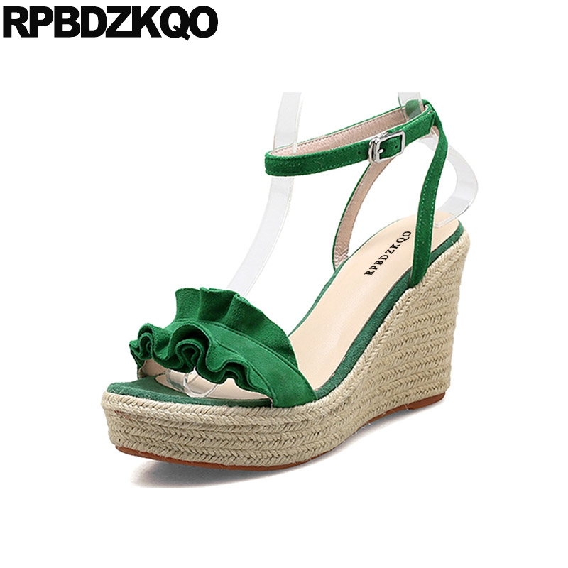 Pumps Suede Green Rope Women Wedge Platform Sandals Ankle Strap Fashion Espadrilles Shoes Slingback Designer High Heels Ruffles elegant women s pumps with suede and slingback design