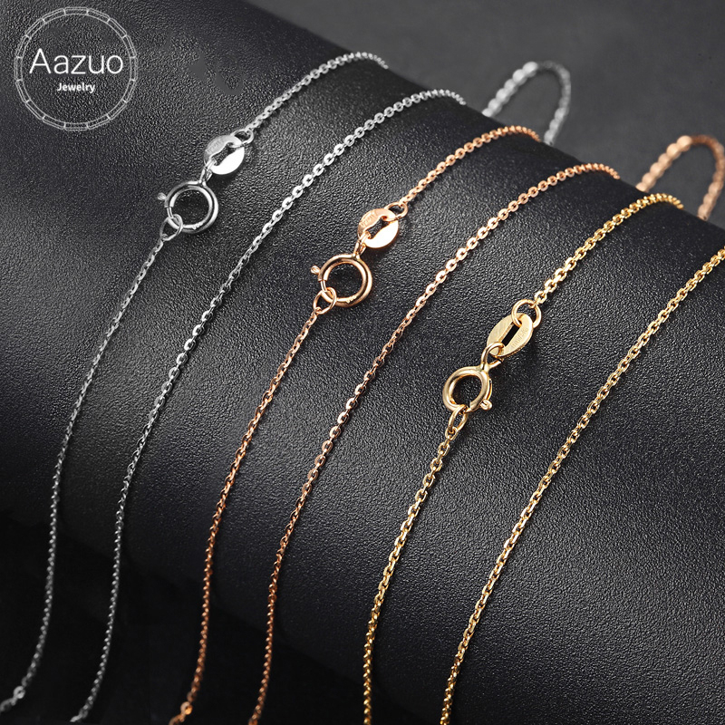 Aazuo 18K White Yellow Rose Gold Link Chain 18 inches Au750 Cost Price Necklace Pendant Wendding