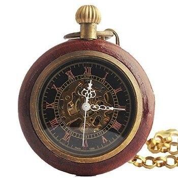 Механические карманные часы в римском стиле с медным деревянным кольцом, Fob, стимпанк, дизайн с открытым лицом для мужчин и женщин