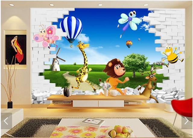 Tapete kinderzimmer tiere  3d fototapete benutzerdefinierte 3d wandbilder wallpaper Stereo ...