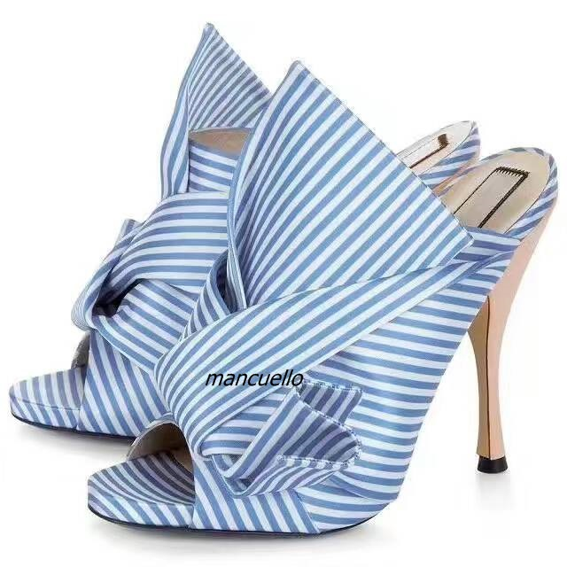 New Trendy Style White and Blue Butterfly-knot Slippers Fancy Stripes Bowknot Peep Toe Spike Heel Dress Sandals Hot Selling