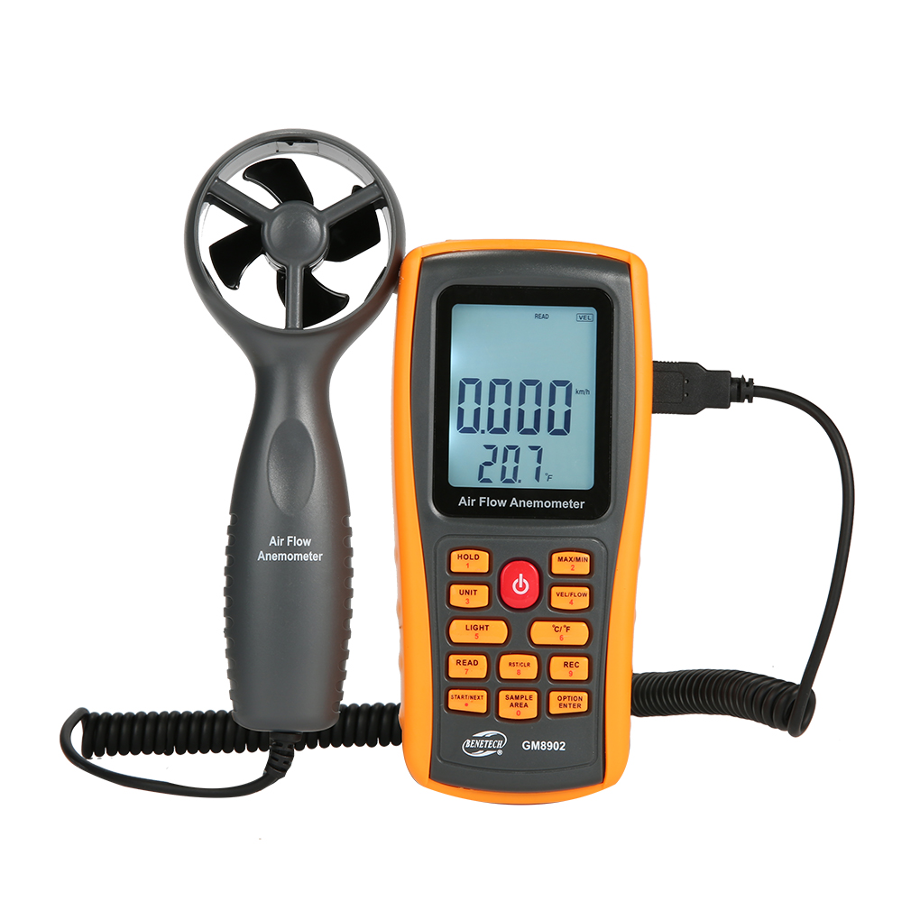 BENETECH GM8902 0-45M/S Digital Anemometer Wind Speed Meter Air Volume Ambient Temperature Tester With USB Interface ar216 air flow anemometer digital wind speed meter tester