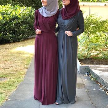 67114f9382 Falda Abaya musulmán vestido túnica Dubai Kaftan Abayas mujeres Jilbab  Ramadán caftán marroquí turco Elbise ropa islámica