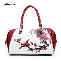2016 New Fashion Women Bag Floral Printing Leather Handbag Beautiful Flowers Shoulder Messenger Bags Ladies Pu