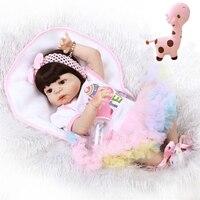 lovely girl reborn baby dolls 23 full silicone reborn baby dolls Easter dress children gift bebe BJD reborn bonecas menina