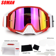 Soman Brand Motocross Glasses ATV Casque Motorcycle Goggles Racing Off Road Moto Bike Sunglasses SM13 With Clear Len+Tear Offs