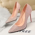 Spring and Autumn sexy women banquet high heels fashion sweet with thin women's shoes pointed diamond wedding shoes size 34-39