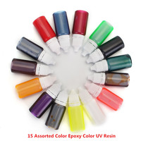 New Arrival 15 Bottles X 10ml Epoxy Resin Pigment UV Resin Coloring Dye Colorant Pigment DIY