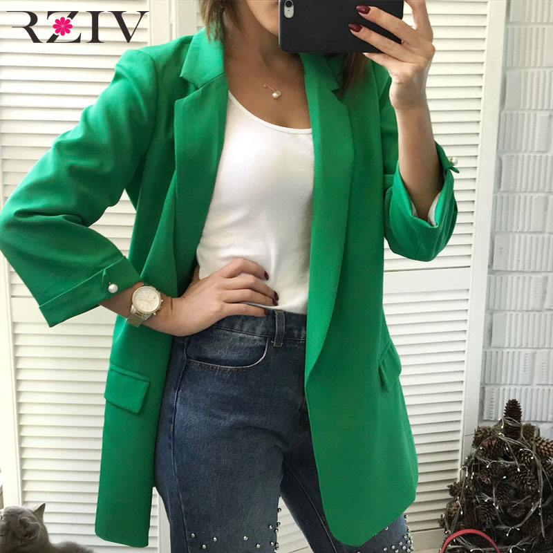 Rziv Autumn Coat Women Blazers And Jackets Solid Color Blazers & Suits Leisure Suit Beaded Decoration Long Section Coat