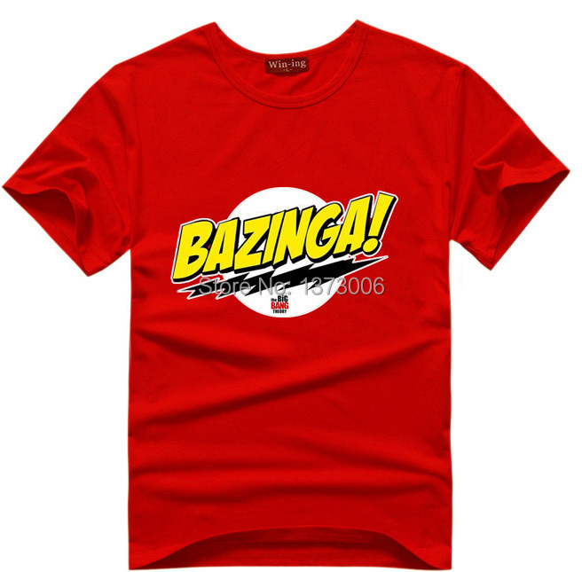 Bazinga Cotton Men T-Shirt Sheldon Cooper The Big Bang Theory T Shirts Comic Geek Tee Tshirt