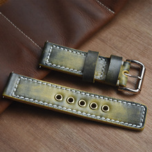Handmade Watch Strap Band 100% Genuine Leather Accessories Brand Design Watchband 20mm 22mm 24mm Retro Black Blue Red KZB10