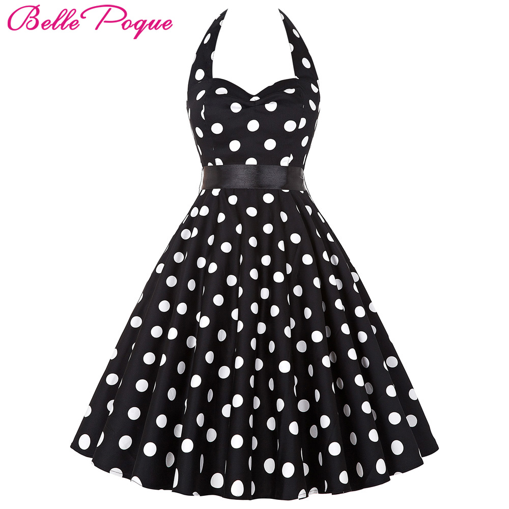 Buy Cheap Women Vintage 50s Summer Big Swing Dress Plus Size Clothing 2017 Robe Retro Casual Party Vestidos Polka Dot Rockabilly Dresses